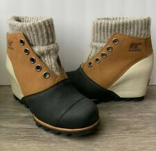 Sorel Lea Joanie Sweater Wedge Ankle Boot Bootie - 7.5 Joan Arctic Elk Leather