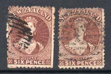 New Zealand 1864 6d x2 shades Chalon p12½ wmk large star SG 122,122a used CV £72