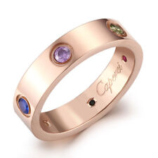 Stainless Steel Gold Rose Gold Silver Women's Engagement Wedding Band Ring