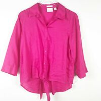 Chico's Womens Pink Linen 3/4 Sleeve Button Front Tie Front Shirt Size 1 Medium