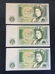 £1 note One Pound Notes x3. D Somerset. Mint - AY08 316971/2/4 two consecutive
