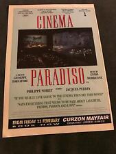 1990 Vintage Movie Promo Print Ad 8X11 For Cinema Paradiso Oscar Winner Foreign