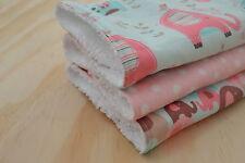 Baby Burp Cloth, Toweling Back - Pink Elephants & Spots, set of 3