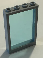 *Used* Lego Bluish Gray 1x4x5 Window with Trans Blue Glass