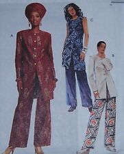 misses button front TUNIC blouse 12 14 16 pants hat modern ethnic slimming look