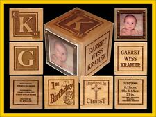 Personalized Engraved, Godparent, Grandparent Baptism Wood Baby Block Gift