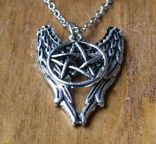 Supernatural necklace ebay supernatural castiel angel wings pentagram pendant necklace aloadofball Gallery