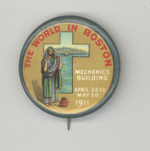 1911 AMERICAN MISSIONARY EXPOSITION Expo BOSTON Pinback PIN Massachusetts MASS