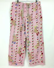 Nick & Nora Pajama Pants 2XL XXL Pink Sock Monkey Candy Cane Holiday Flannel