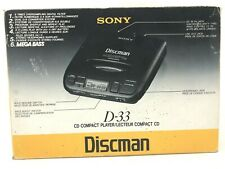 New 1994 Sony Discman D-33 Portable CD Player Vintage Mega Bass - Complete