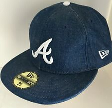 NEW ERA 5950 59FIFTY Fitted Cap Atlanta Braves Washed Denim hat SIZE 7 1/2 NEW