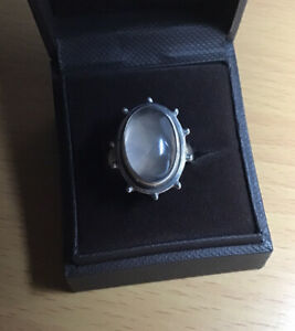 Vintage 925 Silver Statement Moonstone Ring Size R