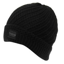 MENS BLACK FIRETRAP BLACKSEAL CABLE DOCK RIBBED HAT KNIT KNITTED BEANIE