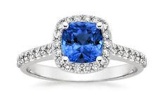 2.00 Ct Certified Diamond Blue Sapphire Wedding Ring White Gold Finish Size L M