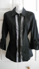 BCBG MAX AZRIA BLACK 3/4 PUFFY SLEEVE FRONT BUTTON DOWN BLOUSE M