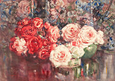 Roses by Margaret Stoddart A1 High Quality Canvas Print