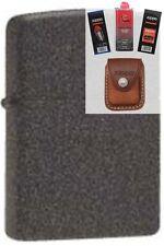 Zippo 211 iron stone cigar Lighter + FUEL FLINT WICK POUCH GIFT SET