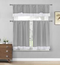 Grey Tie Up Solid Textured Design w/White Border Kitchen Curtains 3 Piece Set