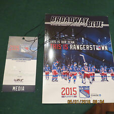 2014/15 Ny Rangers Playoff Media Pass And Game Day Playoff Program