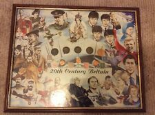 20th century Britain coins and stamps ( framed )
