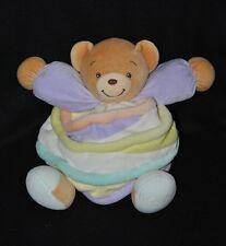 Peluche doudou ours brun boule KALOO candy spirale bras violet 25 cm NEUF