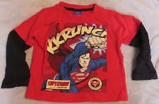 M & CO BOYS 1 1/2 TO 2YRS OLD SUPERMAN SWEATSHIRT. RED WITH BLACK SLEEVES.