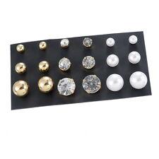 1Set 9Paare Mix Ohrstecker Ohrringe Ohrschmuck Weiß Gold Perlen Strass 8x4.2cm