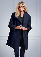 Large Collar Navy Wrap / Swing Coat With Detachable Belt Size 14-16 NEW (£79)