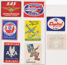6- VINTAGE WHEATIES CEREAL AIRLINE STICKERS 1950'S