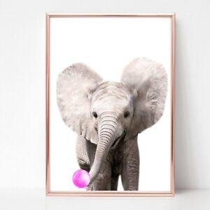 ELEPHANT print PICTURE BUBBLEGUM WALL ART A4  unframed 22 PORTRAIT