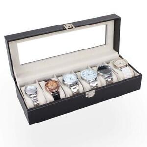 6 Slots PU Leather Wrist Watch Box Display Case Organizer Glass Jewelry Storage