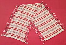 SCARF VINTAGE AUTHENTIC PIERRE CARDIN PLAIDS & CHECKS WHITE LONG MEN'S FRINGE