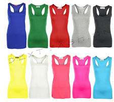 LADIES VEST SLEEVELESS RACER BACK MUSCLE  BODY-CON TOP GYM YOGA VEST PLUS 8-26