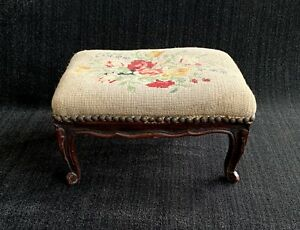 Antique French Country Needlepoint Foot Stool