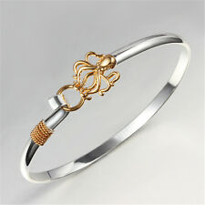 Hot Lady Jewelry Silver Plateed Golden Octopus Sterling Bracelet Party Gift
