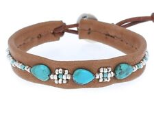 Chan Luu Jewelry Turquoise/Silver Nuggets/Brown Leather Single Bracelet #BS49611