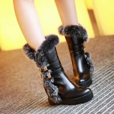 Womens Fur Trim Mid Calf Boots Hidden Wedge Heels Buckle Winter Boots Shoes Size