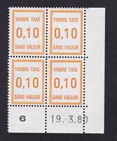 FRANCE TIMBRE FICTIF TAXE FT30 ** MNH, coin daté 19.3.80, TB