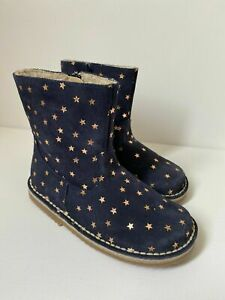 Girls Mini Boden Navy & Gold Star Suede Leather Boots Size 29- UK 10.5