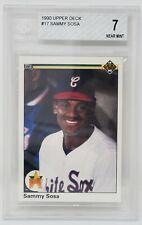1990 Upper Deck #17 White Sox ROOKIE SAMMY SOSA Baseball Card Grade 7 Near MINT