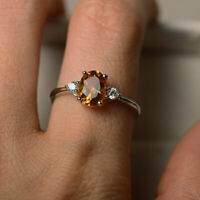 14K Solid White Gold Diamond Rings 1.70 Ct Oval Cut Citrine Gemstone Ring Size N