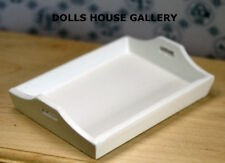 White Wooden Tray, Dolls House Kitchen Accessory, 1.12 Scale