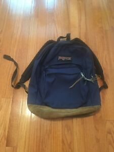 Jansport Backpack Classic Navy/Tan Aged Leather Vintage