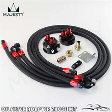"3/4"" AN-8 THREAD OIL COOLER FILTER RELOCATION + 8AN NYLON BRAIDED OIL LINE KIT"