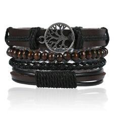 Leather Bracelet Tree of Life Set of 4 Braided Wrap Leather Bracelet Wristband