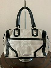 Rebecca Minnkoff White Black Croco Leather tote Shoulder Shopper Purse Bag