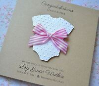 Personalised NEW BABY Girl card baby grow handmade