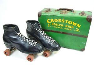 Vintage Crosstown Roller Rink Skate Box w/ Chicago Roll-Rite HYDE Skates Size 9
