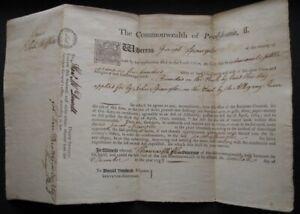 1793 Land Grant Signed Thomas Mifflin Governor Pennsylvania, Constitution Signer