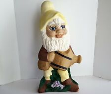 "Vintage 1980s Garden Gnome Large 18"" Ceramic Statue Elf Figurine Watering Can"